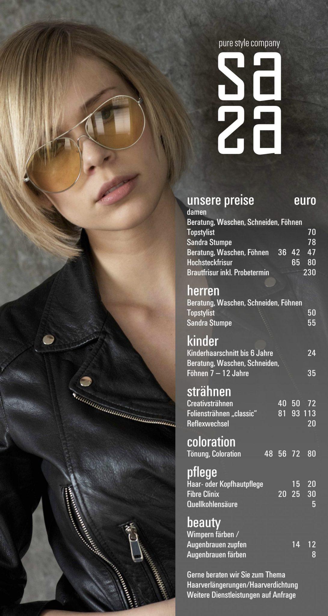 Sasa Pure Style Herrsching Preisliste